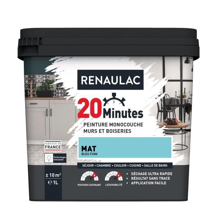 RENAULAC Peinture intérieur monocouche 20 Minutes murs et boiseries - 1L - 10 m² - Bleu cyan Mat