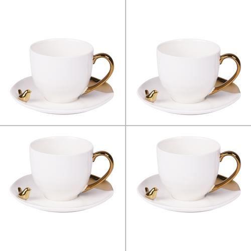 Coffret de 4 tasses à café 10 cl avec soucoupes amman - Table Passion NEURE Blanc