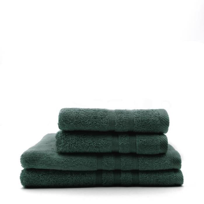 TODAY Lot de 2 Serviettes 50 x 100 cm + 2 Draps de bain 70 x 130 cm - 100% Coton - Émeraude
