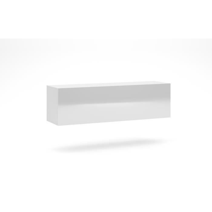 VIVALDI Meuble TV - VIVO VI-3 - 140 cm - blanc mat - blanc brillant avec LED - style moderne