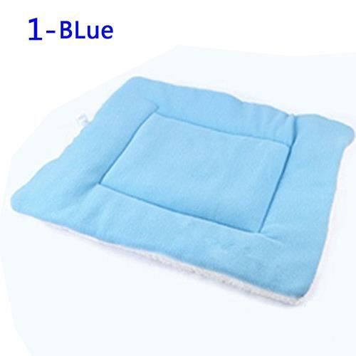 Chien Chat Chiot Lavable Chaud Fluffy Fleece Tapis Pour Animaux Kennel Cage Pad Coussin Bleu S