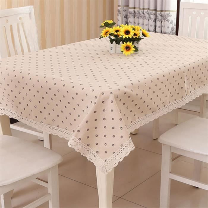 Nappe de table en lin rectangulaire d cor champ tre for Linge de maison lin