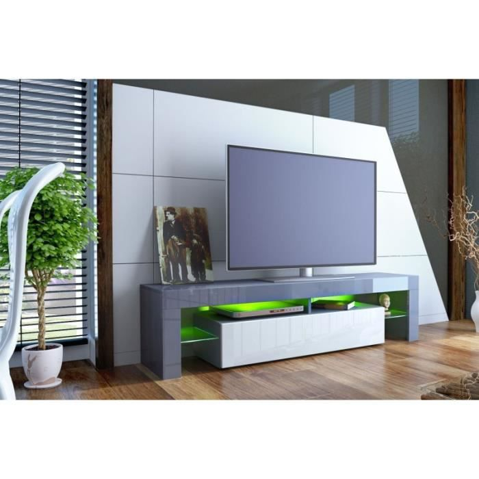 meuble tv design laqu gris et blanc non gris blanc achat vente meuble tv meuble tv. Black Bedroom Furniture Sets. Home Design Ideas