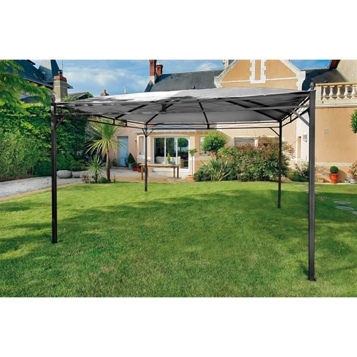 bali armature tonnelle adossee 4x2 8m acier epoxy grey achat vente pergola bali armature. Black Bedroom Furniture Sets. Home Design Ideas
