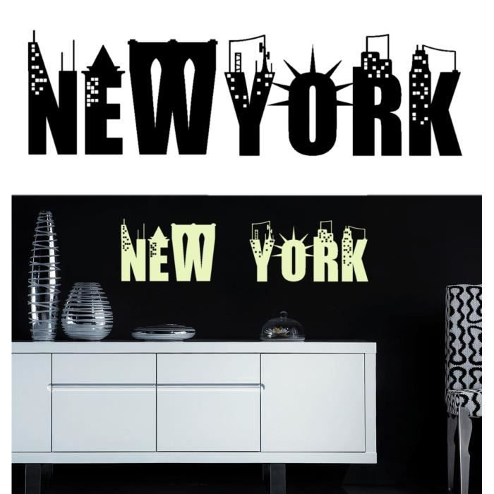 sticker mural new york sticker bleu nuit achat vente stickers cdiscount. Black Bedroom Furniture Sets. Home Design Ideas