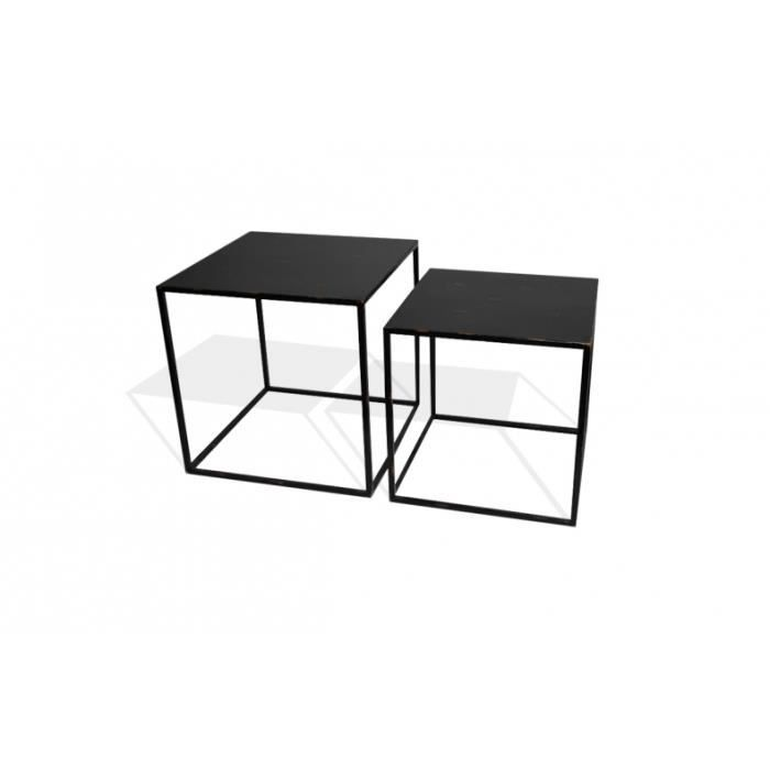 tables basses gigognes m tal noir achat vente table. Black Bedroom Furniture Sets. Home Design Ideas
