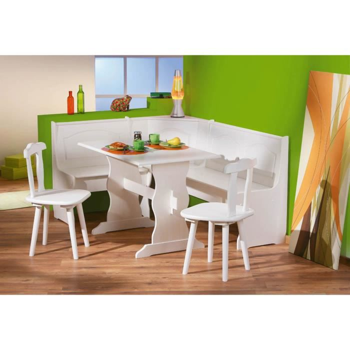 coin repas donau en pin massif blanc achat vente table de cuisine coin repas donau pin. Black Bedroom Furniture Sets. Home Design Ideas