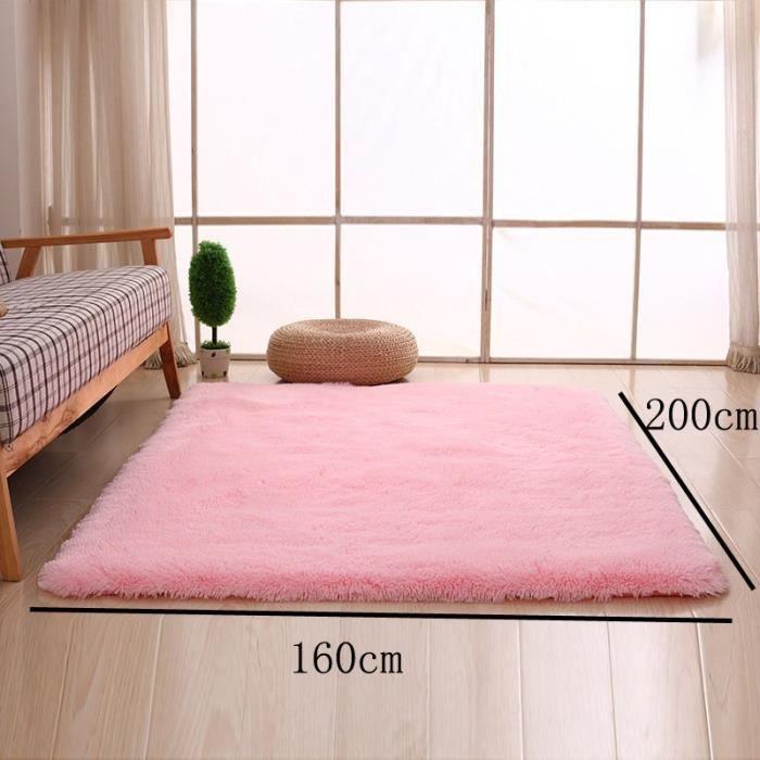 Rose pâle 160*200cm Tapis chambre enfant Tapis Salon du sol maison  décoration confortable shaggy Moquette Velours Yoga Anti-dérapage