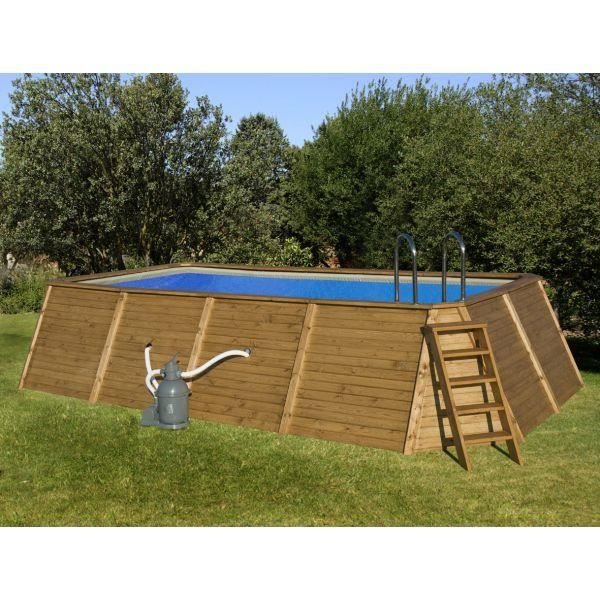 Piscine rectangulaire bois lambriss e 655 x 390 x 124 cm for Piscine achat