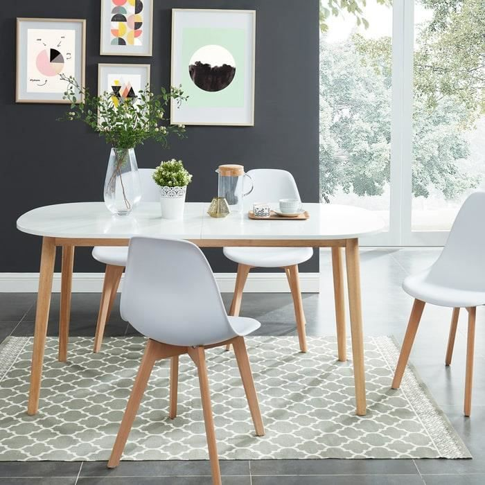 TABLE À MANGER SEULE Table à manger scandinave extensible 160 à 200x80x