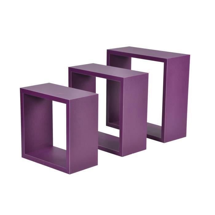 CASIER POUR MEUBLE CDaffaires set de 3 cubes gigognes prune 23cm-26.5
