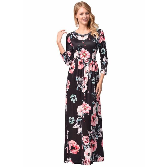 Womens Elegant Floral Print Summer Beach Long Maxi Dresses With Pockets 1X3XTU Taille-42