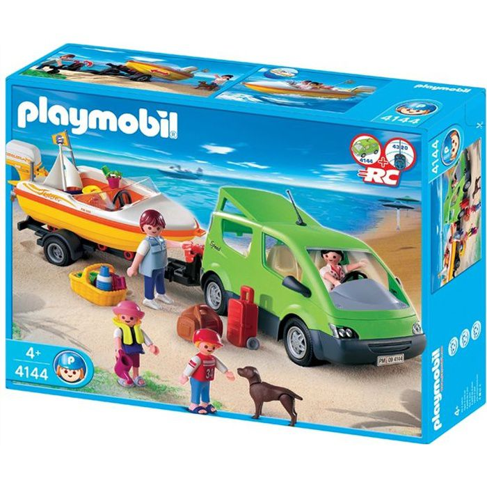 playmobil 4144 voiture familiale et bateau achat vente univers miniature cdiscount. Black Bedroom Furniture Sets. Home Design Ideas
