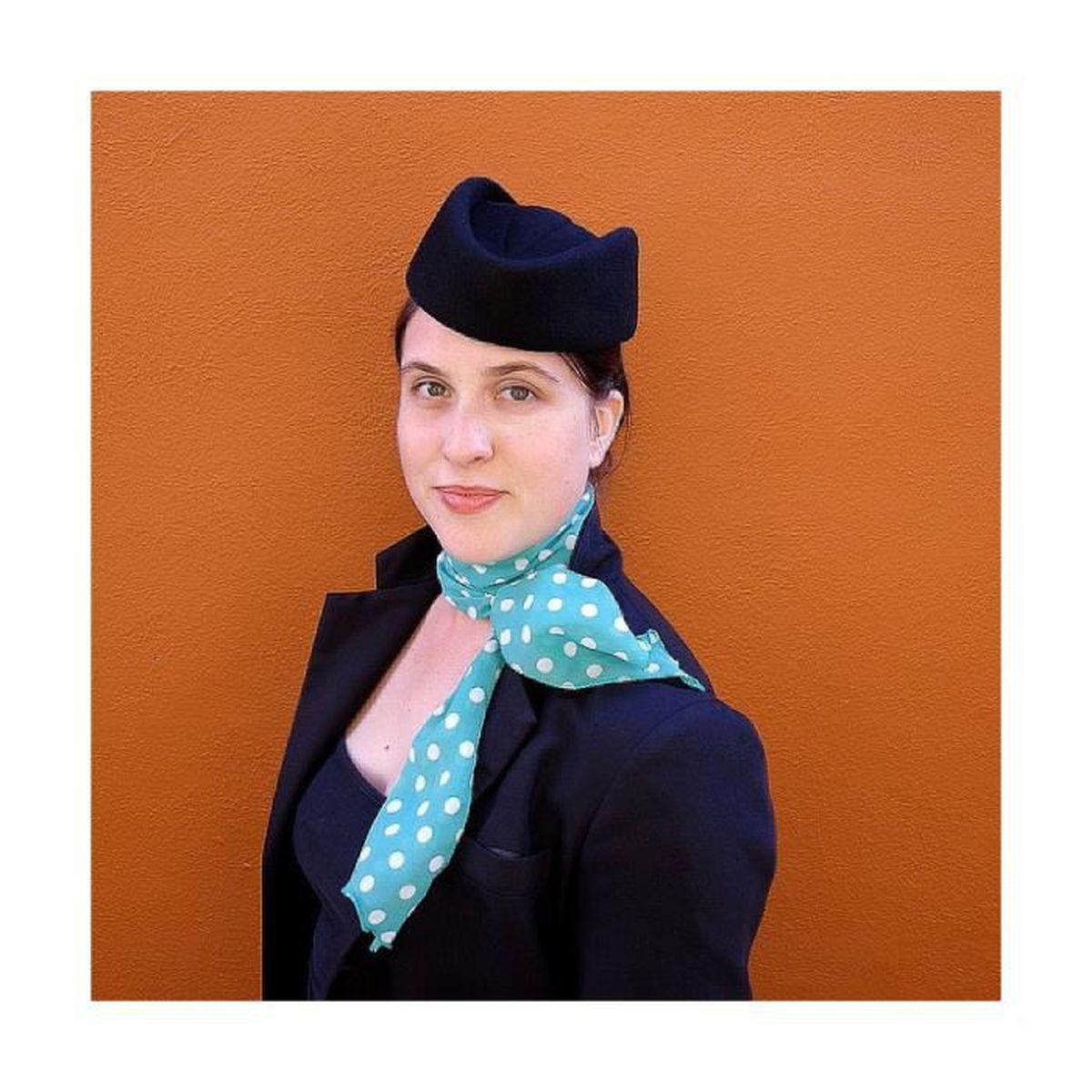 Chapeau Calot Hotesse De L Air Bleu Marine Achat Vente Chapeau