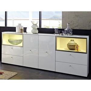 Buffet Bahut Blanc Laque Design Boston Avec Led Achat
