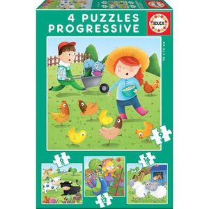 PUZZLE EDUCA Borras - Puzzle Progressif Animaux Ferme - (