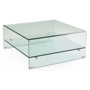 TABLE BASSE NOAH Table basse style contemporain en verre tremp