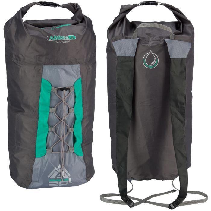 ABBEY Sac à dos compact pliable - 100% polyester indéchirable - Capacité du sac : 20 L - Poids : 90 g - Vert
