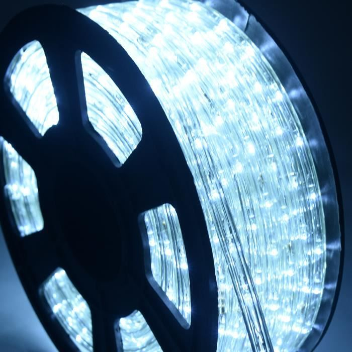 COSTWAY 20M Tube Lumineux Extérieur LED Guirlande Lumineuse Décoration Noël avec 720 Lampes et Adapteur d'alimentation Blanc
