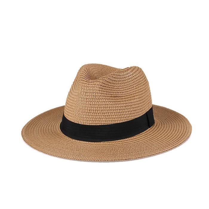 Kaki M 57cm -Chapeau de paille pour hommes et femmes, chapeau de soleil à large bord, casquette de plage Fedora, Protection UV