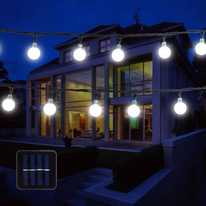Guirlande lumineuse solaire de jardin Globe extérieur avec boule LED 6 m 30 LED 2 modes Blanc froid Guirlande extérieure étanc[249]