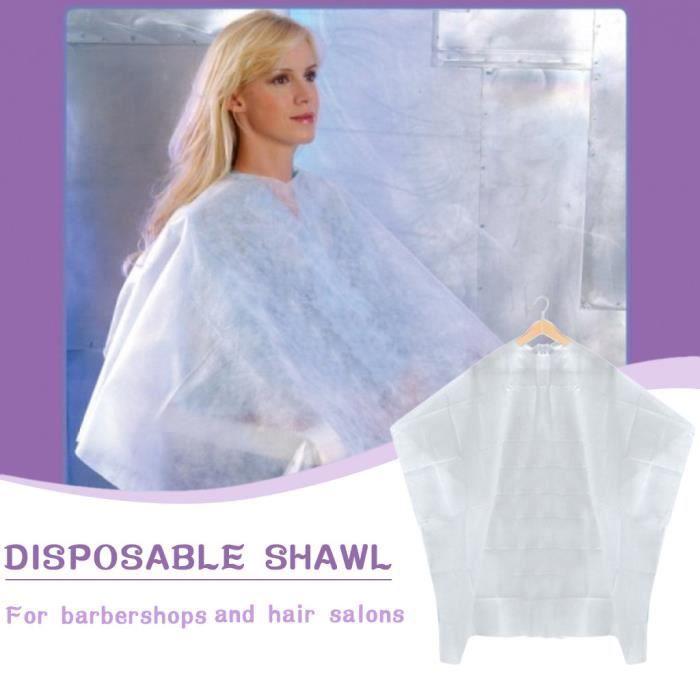 50 pièces tablier Non tissé jetable imperméable à l'eau lavage Cape de cheveux tissu de coiffure coupe de cheveux - White