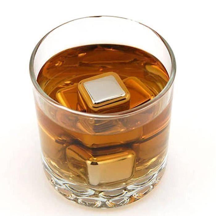 Pierre à Whisky Glaçons Réutilisables en Acier Inoxydable Glaçons Whisky Pierre Ice de Whisky Forme Cube Refroidisseur de Vin