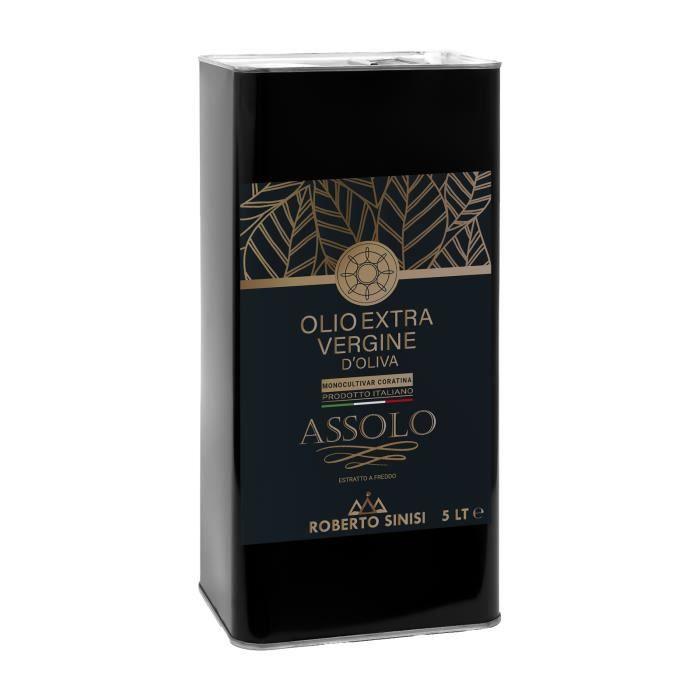 huile d'olive extra vierge produite en Italie. Huile d'olive extra vierge pressée à froid en bidon de 5 litres. Assolo Madrepuglia