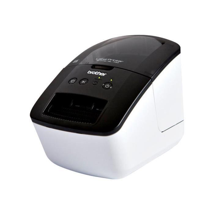 Brother QL-700 Imprimante d'étiquettes papier thermique rouleau (6,2 cm) 300 ppp jusqu'à 150 mm-sec USB