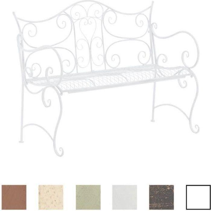 CLP Banc de jardin rustique TARA, Banquette fer forgé style rustique, 113 x 47 cm, banquette de lit,