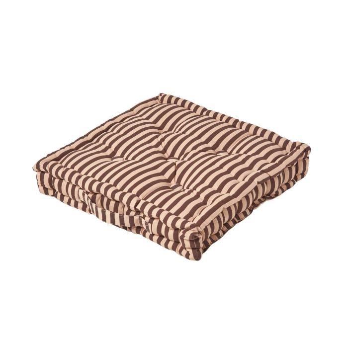 Coussin de sol Chocolat - Fines Rayures Beige - 50 x 50 cm