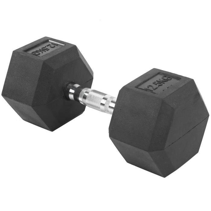 Haltère hexagonale en caoutchouc gymnase à domicile entraînement équipement de 12,5 kg (1 pièce) - QIN