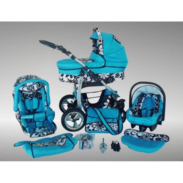 Dino Poussette Trio Nacelle Poussette Canne Siège auto Parasol Accessoires 09 bleu & fleurs noirs