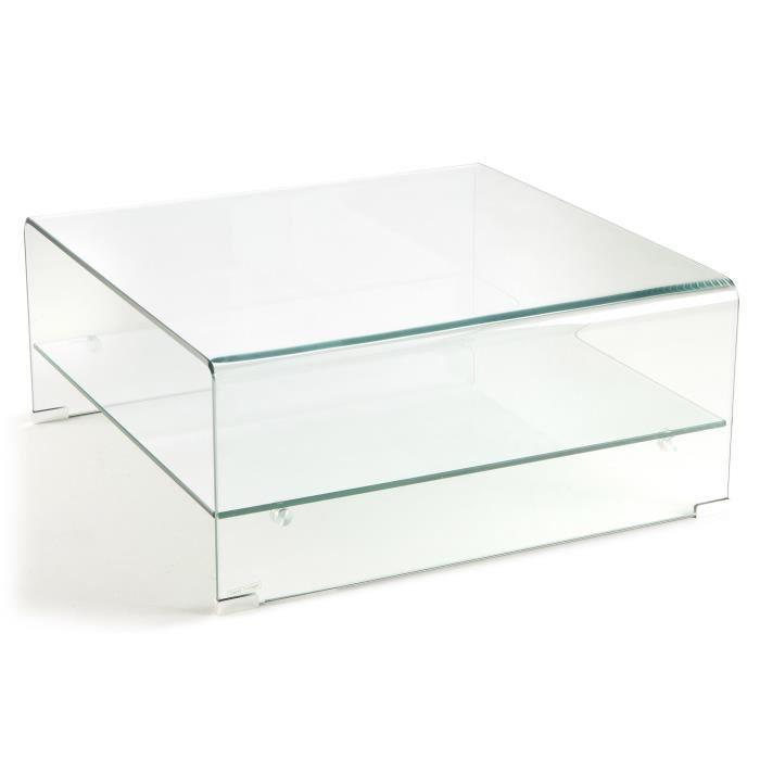 NOAH Table basse carrée style contemporain en verre trempé transparent - L 80 x l 80 cm