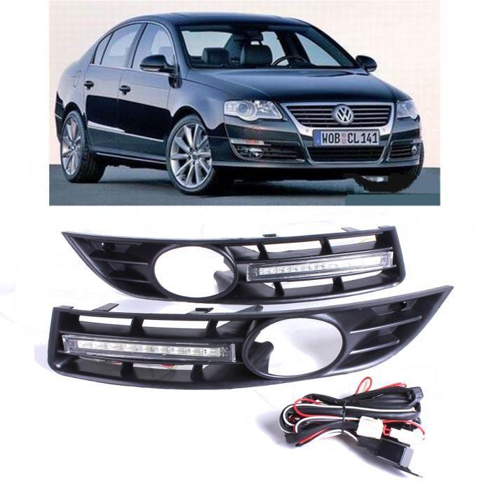NEUFU Paire Grille Feux de jour à diodes électroluminescentes avec cadre anti-brouillard pour 2006-2010 VW / Volkswagen Passat B6