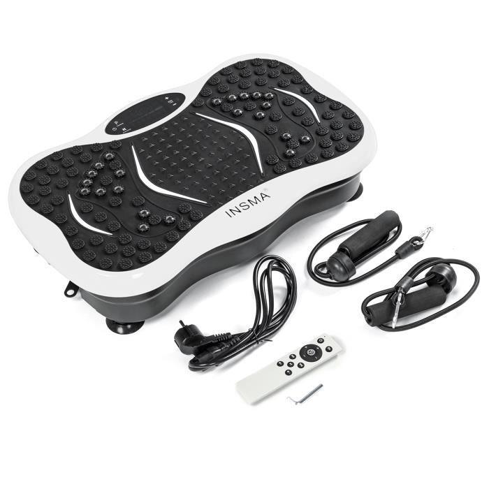 INSMA Plateforme vibrante oscillante Fitness Plaque de vibration 1-299 Vitesse avec Résistance bande Télécommande Bluetooth BLANC