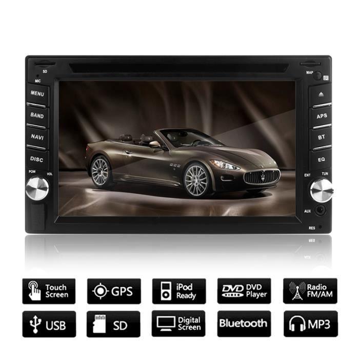 Écran 6.2- Tactile HD Navigation GPS Autoradio Bluetooth HD 2 Din Multimédia Stéréo Audio Lecteur de DVD avec Carte européenne de ca