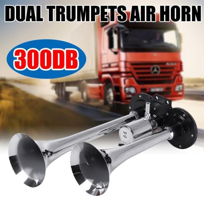 TEMPSA 300DB 12V 24V Double trompette à air klaxon chromé voiture camion rv train bateau argent