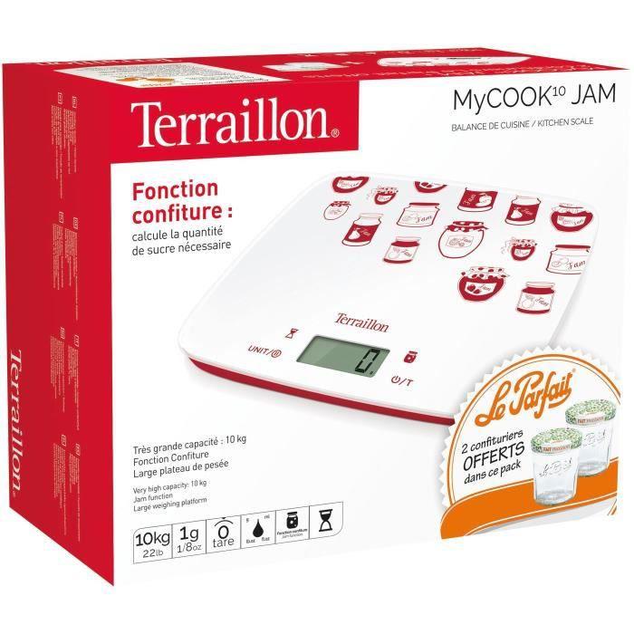 TERRAILLON - Balance électronique 10kg 1g LCD blanc + 2 pots à confit.