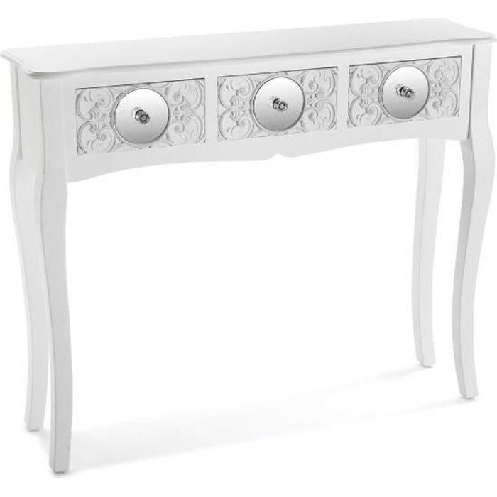 Versa 21600045 Table d'entrée Console intérieure, Bois, Blanc, 80 x 25 x 95 cm