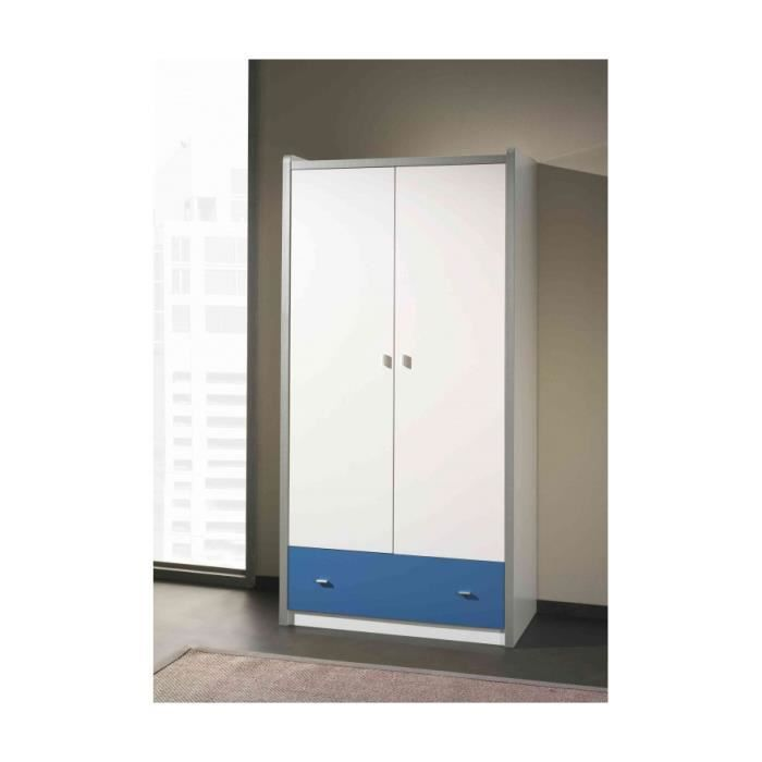 armoire deux portes bleu achat vente armoire de. Black Bedroom Furniture Sets. Home Design Ideas