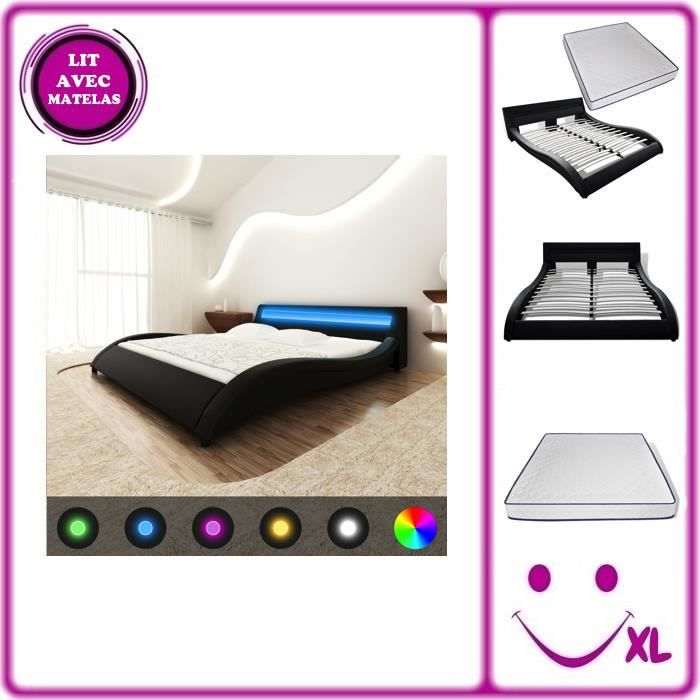 lit en similicuir avec t te de lit led 180 cm noir matelas. Black Bedroom Furniture Sets. Home Design Ideas