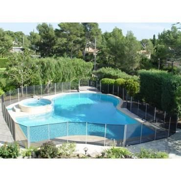 Barri re piscine beethoven noire piquets gris anodis s 6 for Barriere piscine beethoven