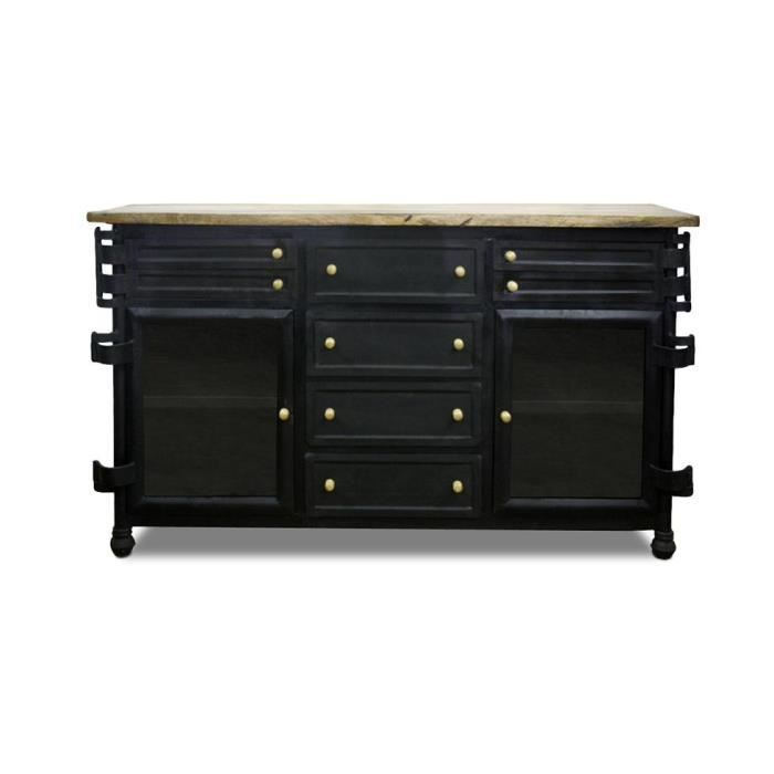 buffet style industriel grange co acier achat vente. Black Bedroom Furniture Sets. Home Design Ideas