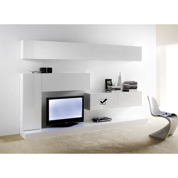 meuble tv mural horizontal down s blanc achat vente living meuble tv meuble tv mural. Black Bedroom Furniture Sets. Home Design Ideas