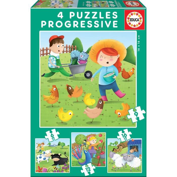 PUZZLE EDUCA - Puzzle Progressif Animaux Ferme