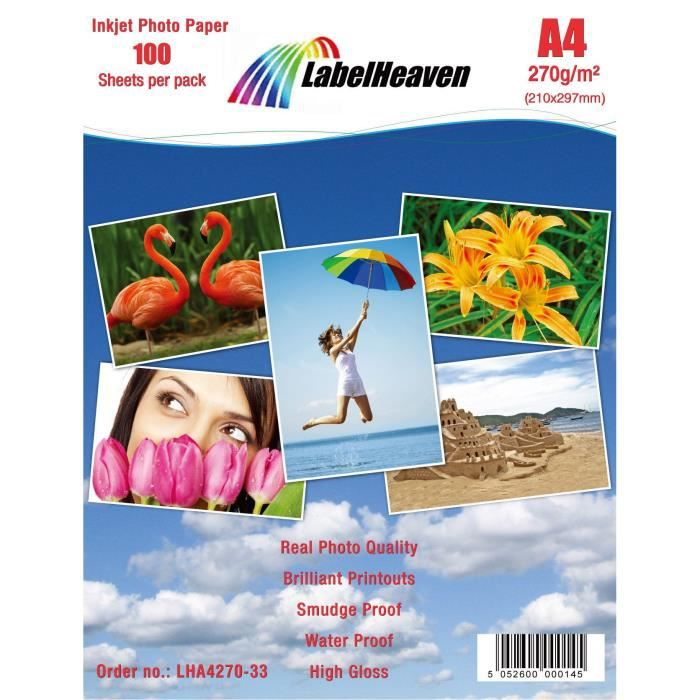 PAPIER PHOTO LabelHeaven - 100 Feuilles Papier Photo A4 Premium