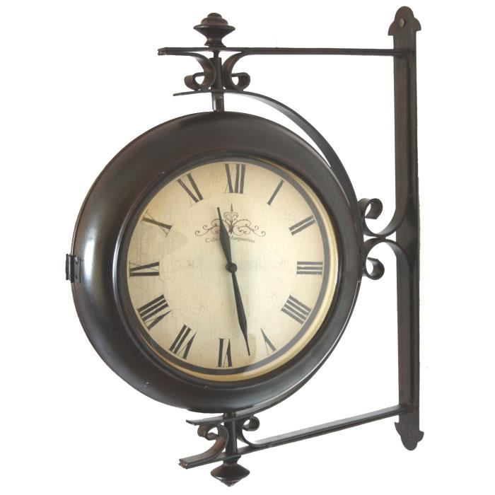 grande horloge de gare pendule murale double face rotative. Black Bedroom Furniture Sets. Home Design Ideas