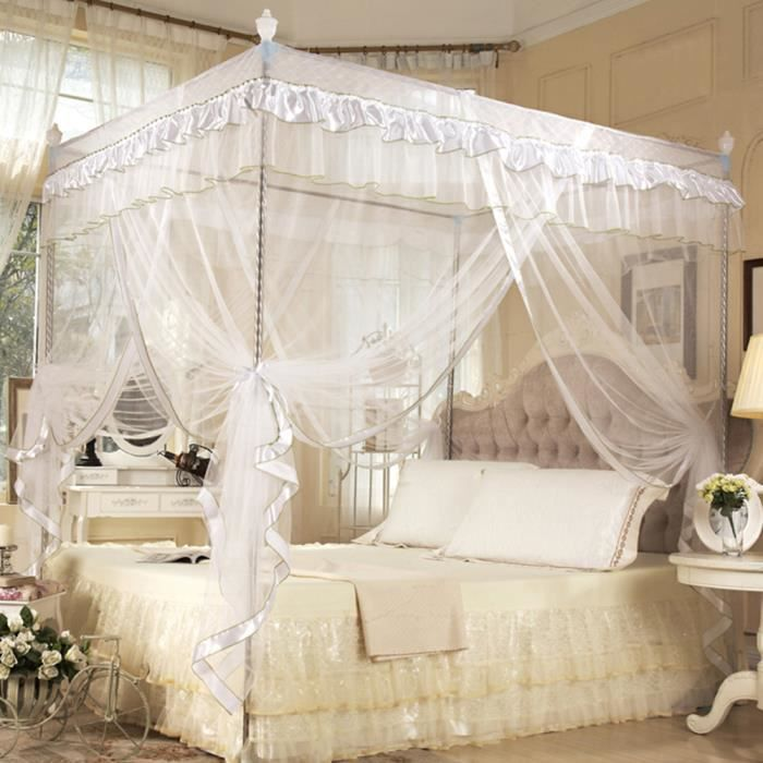 moustiquaire de lit canopy lace 4 corner square princess rideau 3 portes no bracket achat. Black Bedroom Furniture Sets. Home Design Ideas