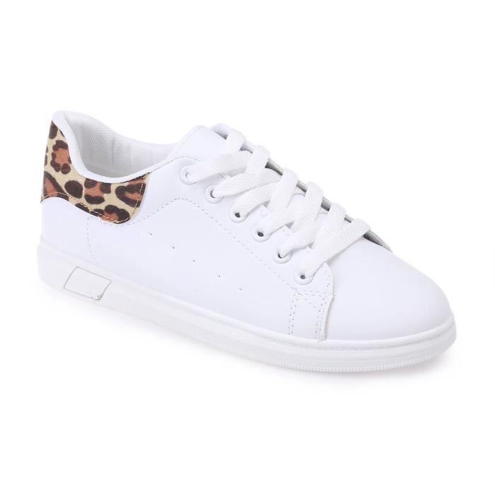 Baskets blanches à détails imprimé léopard